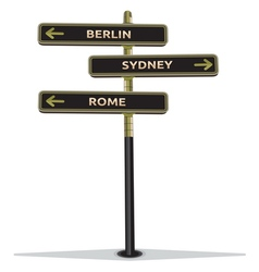 Street sign showing cities vector image