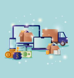 technology devices with ecommerce icons vector image