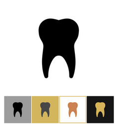 Tooth icon dental teeth silhouette symbol on gold vector