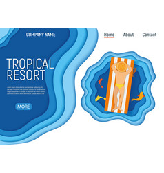 Tropical resort male character on water mattress vector