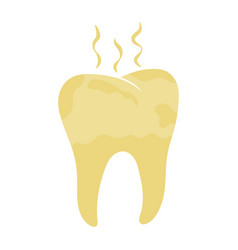 Unhealthy tooth yellow rotten teeth vector