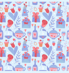 valentine day blue and red seamless pattern flat vector image