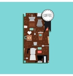 Vertical flyer with coffee pattern vector