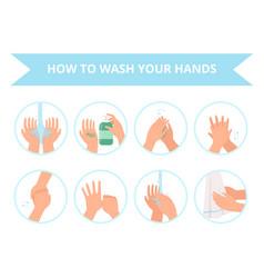 Washing hands children daily hygiene bathroom vector