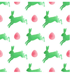 Watercolor easter pattern with rabbits vector