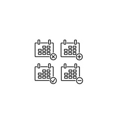 web line icon calendar black on white background vector image
