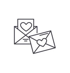 wedding invitation line icon concept wedding vector image