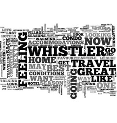 Whistler back in the saddle text word cloud vector