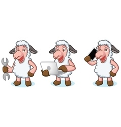 White Sheep Mascot with laptop vector