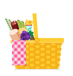 wicker picnic basket flat vector image