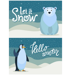 winter greeting postcard bear and penguin vector image
