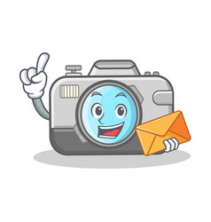 with envelope photo camera character cartoon vector image