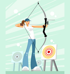 woman shooting a bow vector image