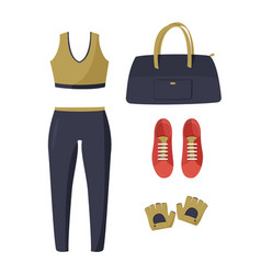 Women tight-fitting sport suit red sneakers dark vector