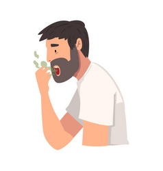 Young man having bad breath guy having body odor vector