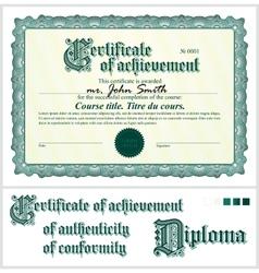Green certificate Template Horizontal vector image vector image