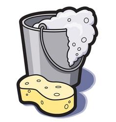 bucket of water and sponge vector image vector image
