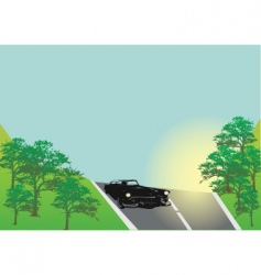 classic car on the road vector image