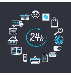 Internet website store open 24 hours vector image