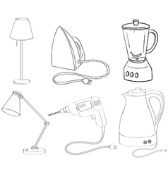 Silhouettes of appliances vector image vector image