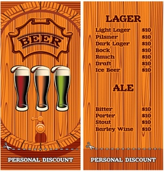 template for the cover of the beer menu vector image vector image