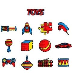 Toys flat icon set vector image