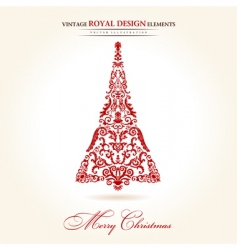 vintage Christmas tree red vector image