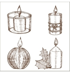 Candles Set Hand Draw Sketch vector image vector image
