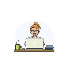 cartoon woman character working on computer vector image
