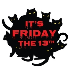 Friday 13 with black cats vector image vector image