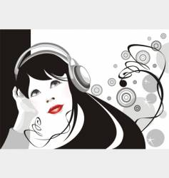 girl listens to music vector image