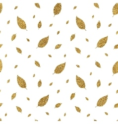 Golden seamless pattern autumn leaves vector image vector image