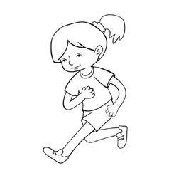 Run girl contour vector image vector image