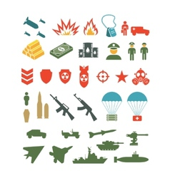 Set of flat military infographics icons vector image