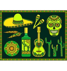 set traditional mexican symbols vector image