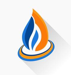 symbol fire Orange and dark blue flame glass icon vector image
