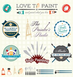 Artist Painter Labels and Icons vector image