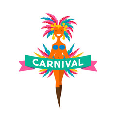 brazilian carnival banner with colorful elements vector image vector image
