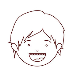 brown color contour of smiling boy face with short vector image