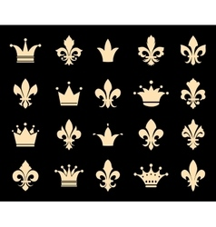 Crown and fleur de lis icons vector image vector image