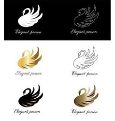 elegant person sign emblem for fashion shop vector image