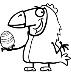 man as easter chicken cartoon for coloring vector image