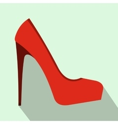 Red high heel women shoe icon flat style vector image vector image