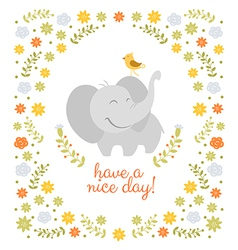 Smiling elephant on floral background vector image vector image