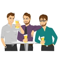 Three caucasian friends drinking a beer vector image