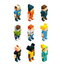 3d low poly peoples isometric user icons set vector image