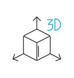 3d model thin line stroke icon 3d model vector image