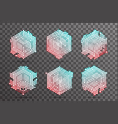 abstract isometric hexagon lines cubic elements vector image