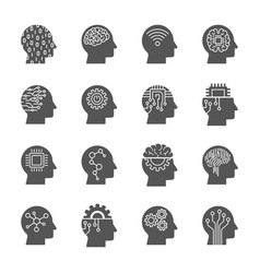 Ai artificial intelligence icon set vector