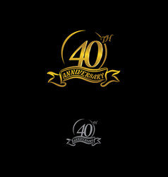 Anniversary unusual label forty year symbol vector